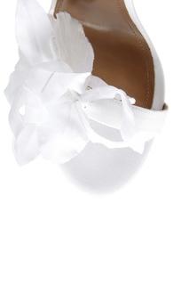 Босоножки из кожи и сатина Flora Sandal Bridal 105 Aquazzura