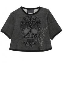 Укороченная футболка с металлизированной отделкой Philipp Plein