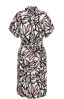 Платье-рубашка с поясом и цветочным принтом HUGO