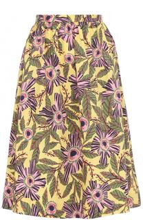Хлопковая юбка-миди с цветочным принтом REDVALENTINO
