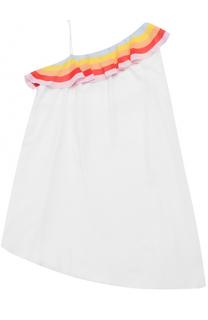 Платье асимметричного кроя с контрастной оборкой и открытым плечом Chloé