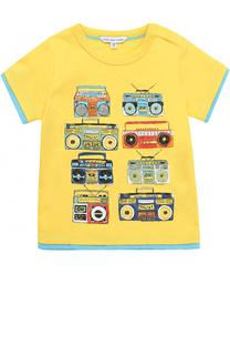 Хлопковая футболка с принтом и контрастной отделкой Marc Jacobs