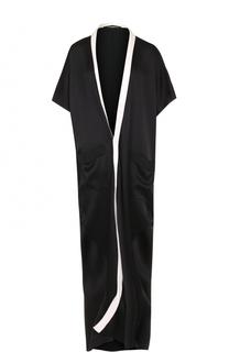 Платье-макси с драпировкой и контрастной отделкой Haider Ackermann