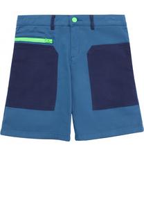 Хлопковые шорты с накладными карманами и контрастной молнией Stella McCartney