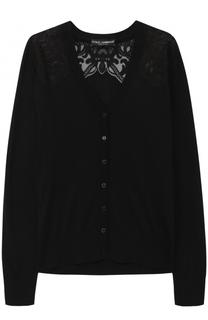 Шелковый кардиган с кружевными вставками Dolce & Gabbana