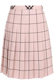 Мини-юбка в складку с принтом Valentino
