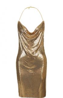 Платье с открытой спиной и металлизированной отделкой Balmain