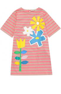 Хлопковое платье свободного кроя в полоску с принтом Stella McCartney