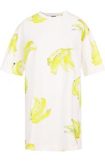 Платье-футболка прямого кроя с принтом MSGM