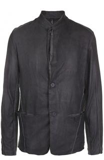 Кожаная куртка на пуговицах с текстильными вставками Transit