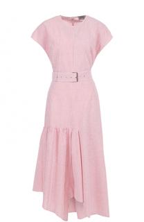 Платье асимметричного кроя в полоску с поясом Rachel Comey