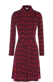 Шелковое платье-рубашка с оборками и поясом Diane Von Furstenberg