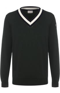 Хлопковый пуловер с контрастной отделкой Moncler
