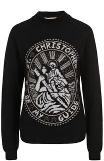 Пуловер с круглым вырезом и металлизированной отделкой Christopher Kane