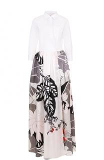 Платье-рубашка в пол с юбкой с цветочным принтом sara roka