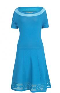 Приталенное платье-миди с полупрозрачной вставкой D.Exterior