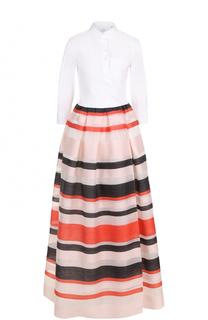 Платье-рубашка в пол с юбкой в полоску sara roka