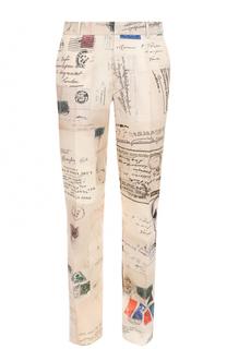 Шелковые брюки прямого кроя с принтом Alexander McQueen