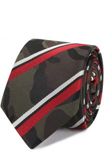Шелковый галстук с камуфляжным принтом в полоску Valentino