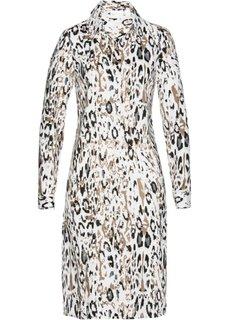 Длинная блузка с леопардовым принтом (цвет белой шерсти/черный с рисунком) Bonprix