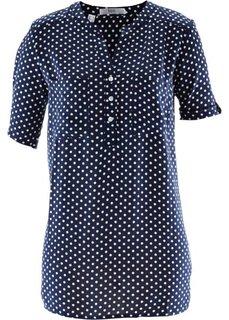 Блузка с коротким рукавом (темно-синий/белый в горошек) Bonprix