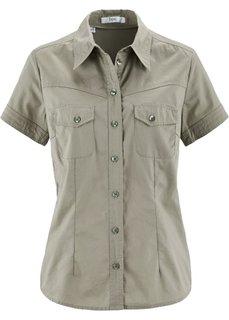 Клетчатая блузка с коротким рукавом (новый хаки) Bonprix