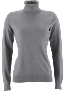 Пуловер с высоким воротником (серый меланж) Bonprix