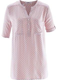 Блузка с коротким рукавом (розовый матовый/белый в горошек) Bonprix