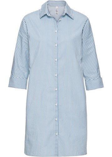 Платье-рубашка с широкими манжетами (нежно-голубой/белый в полоску)