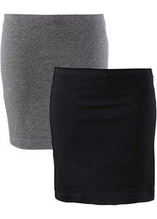 Мини-юбка стретч (2 шт.) (серый меланж + черный) Bonprix