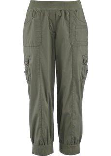Эластичные брюки карго длиной 3/4 (оливковый) Bonprix
