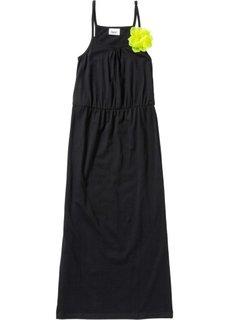 Платье в пол с декоративным цветком (черный) Bonprix