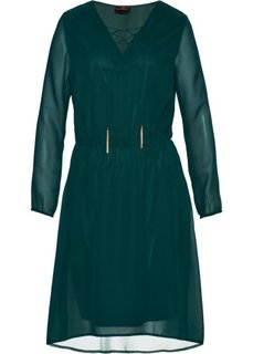 Платье со шнуровкой на вырезе (насыщенный зеленый) Bonprix