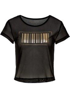 Сетчатая футболка с принтом (черный с рисунком) Bonprix