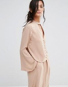 Блузка с расклешенными рукавами и горловиной‑чокер Neon Rose Co-Ord - Оранжевый