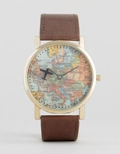 Часы с коричневым ремешком и принтом карты в винтажном стиле ASOS - Коричневый