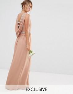 Платье макси с драпированной спинкой TFNC WEDDING - Бежевый