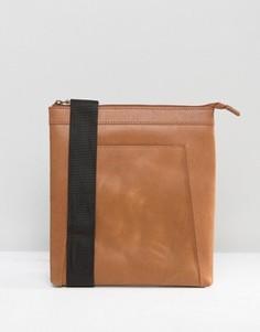 Светло-коричневая кожаная сумка для авиапутешествий ASOS - Рыжий