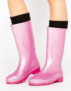 Резиновые сапоги цвета металлик в винтажном стиле JUJU - Розовый