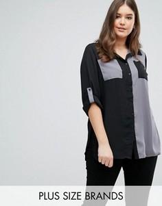 Рубашка с контрастными карманами Plus-size - Мульти Lovedrobe