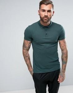 Зеленая обтягивающая футболка-поло в крупный рубчик ASOS - Зеленый