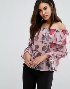 Топ с открытыми плечами и цветочным принтом Lipsy - Мульти