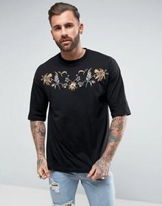 Oversize-футболка с вышивкой на кокетке ASOS - Черный