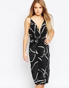 Платье с принтом и V‑образным вырезом Talulah - Черный