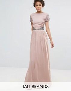 Платье макси с короткими рукавами и отделкой на талии Maya Tall - Розовый