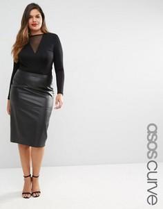 Кожаная юбка-карандаш ASOS CURVE Premium - Черный