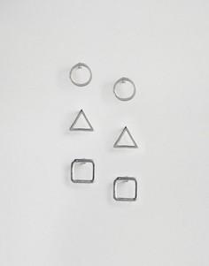 Набор из 3 пар сережек-гвоздиков Cara NY - Серебряный