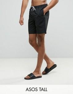 Черные шорты для плавания средней длины ASOS TALL - Черный