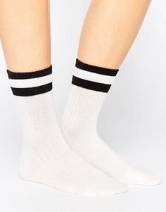 Носки с полосками в университетском стиле Monki - Белый