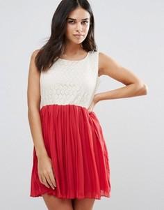 Платье с кружевным топом и плиссированной юбкой Jasmine - Красный